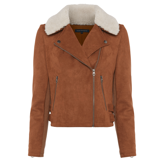 French Connection Amaranta Faux Shearling Suedette Jacket