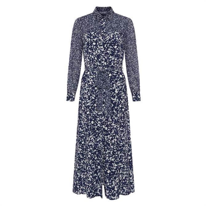 French Connection Areita Drape Printed Shirt Dress