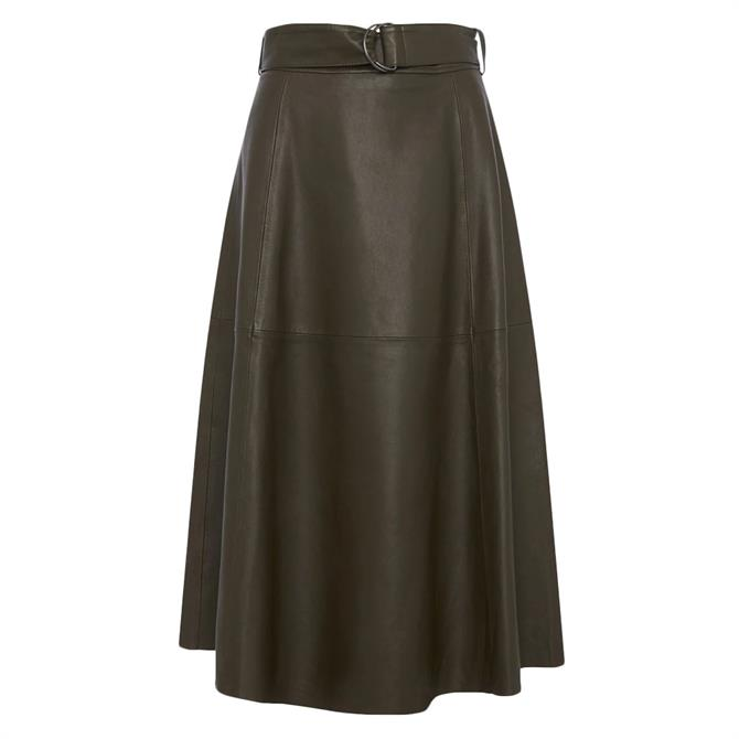 French Connection Arlan Leather Belted Midi Skirt