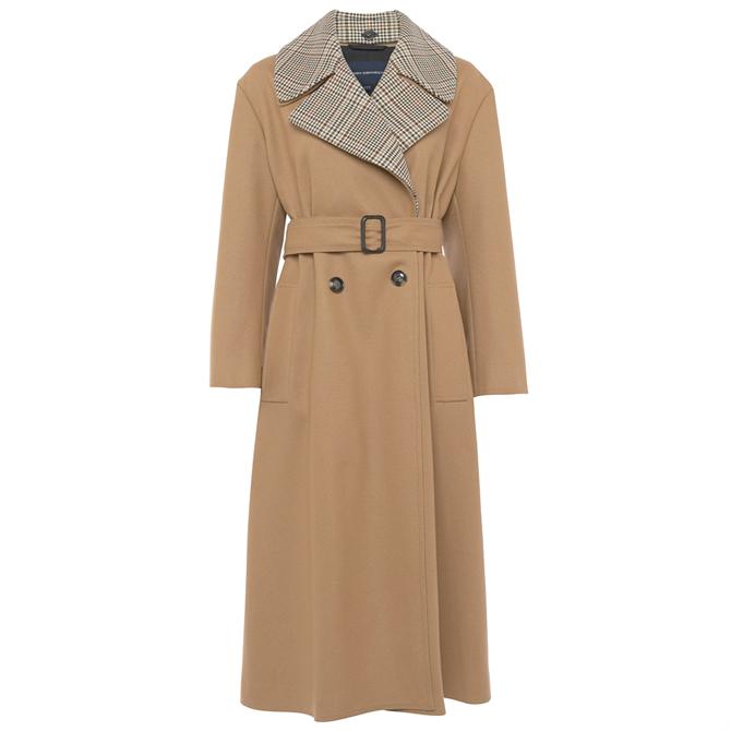 French Connection Carmelita Platform Felt Check Collar Coat