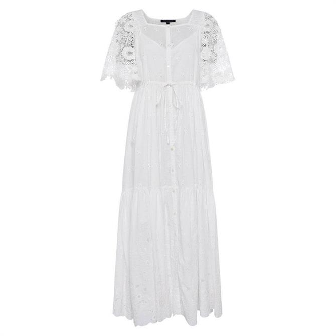 French Connection Cecily Broderie Anglaise Tie Waist Dress