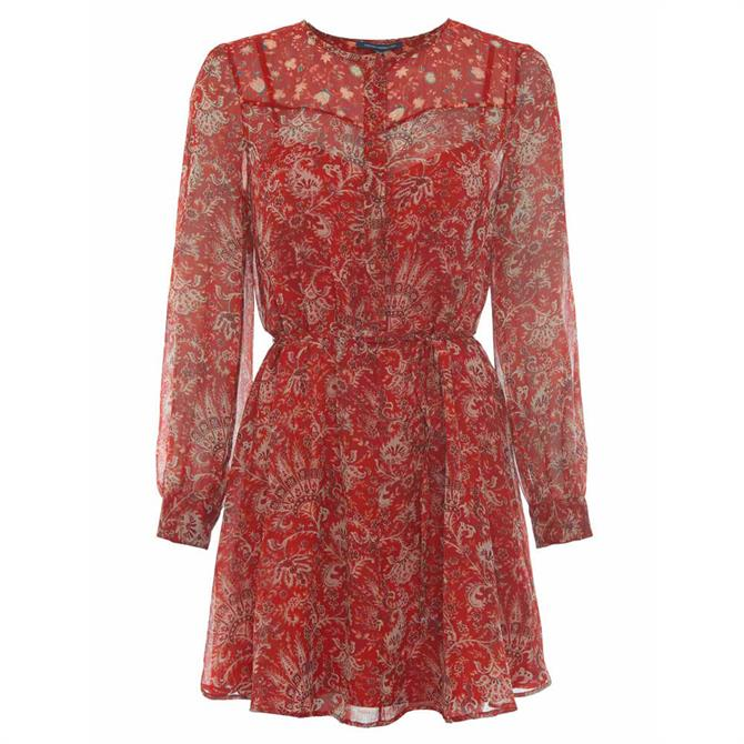 French Connection Esi Crinkle Paisley Printed Dress