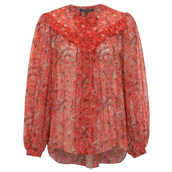 French Connection Esi Semi-Sheer Paisley Print Blouse