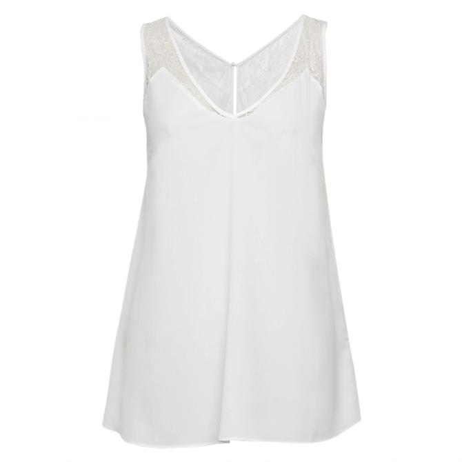 French Connection Crepe Lace Trim Vest