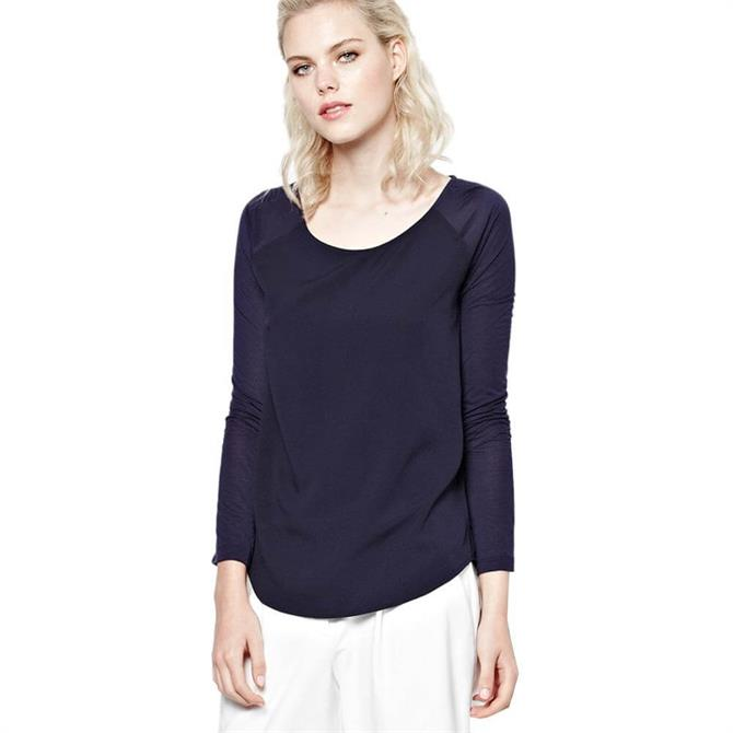 French Connection Classic Polly Plains Long Sleeve Top