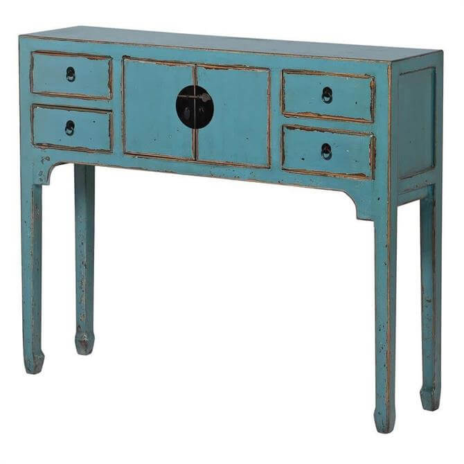 Distressed Finish Four Drawer Sideboard Blue