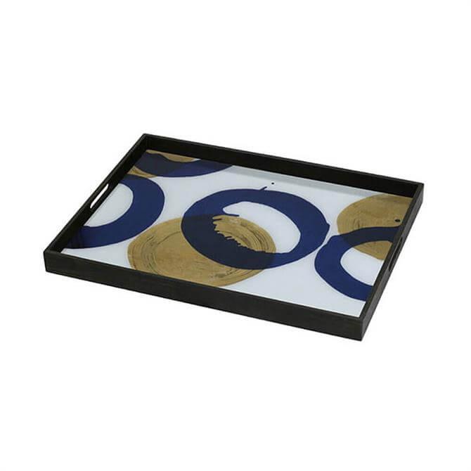 Notre Monde Gold & Blue Halos Glass Tray