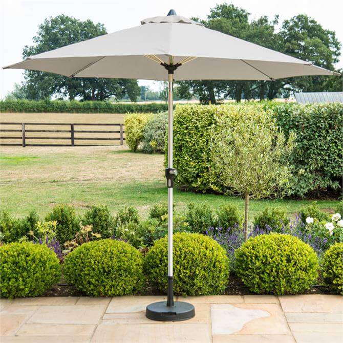 Parasol With Base 2.7m Grey