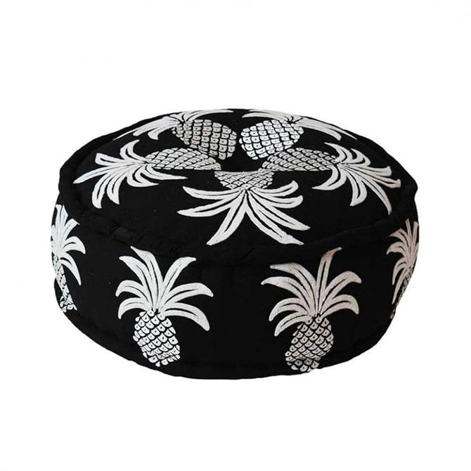 Bombay Duck Embroidered Pineapple Pouff Black