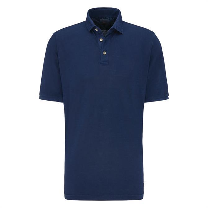 Fynch Hatton Linen Blend Garment Dyed Polo Shirt
