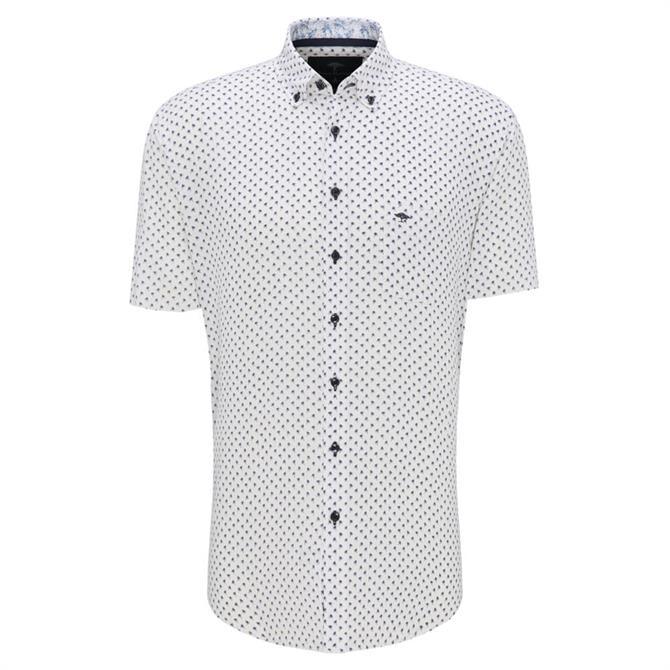 Fynch Hatton Linen Blend Palm Print Story Short Sleeve Shirt