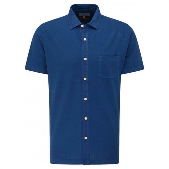 Fynch-Hatton Navy Casual Fit Short Sleeve Shirt