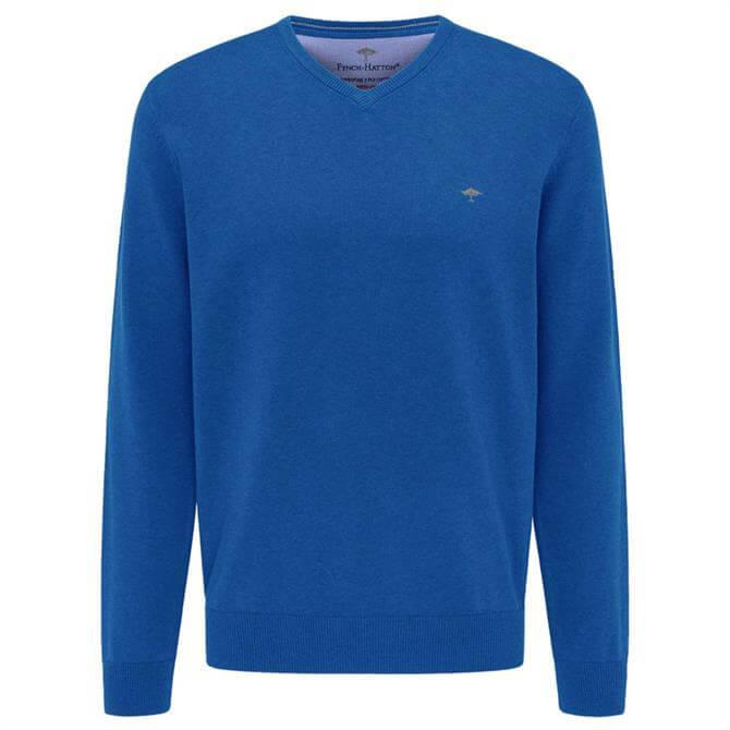 Fynch-Hatton Blue Superfine Cotton V-Neck Jumper