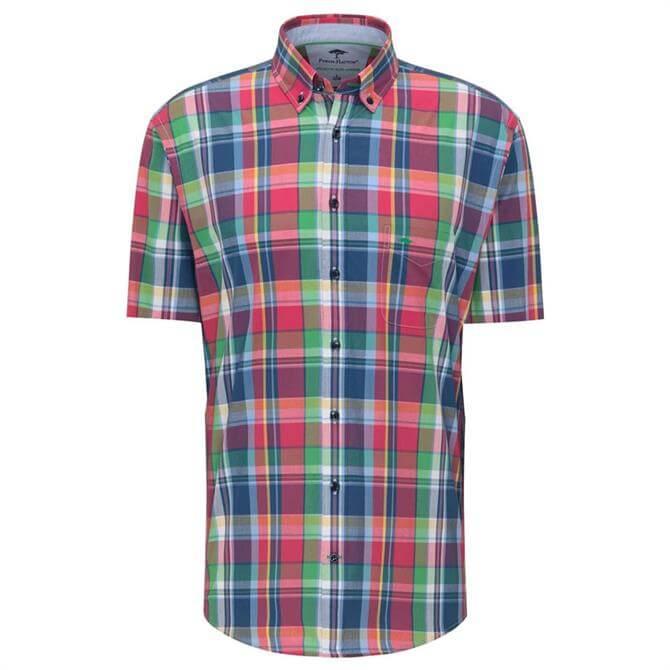 Fynch-Hatton Pure Cotton Short Sleeve Multicoloured Check Print Shirt