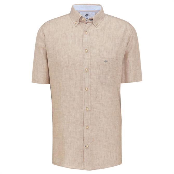 Fynch-Hatton Casual Fit Short Sleeve Linen Shirt