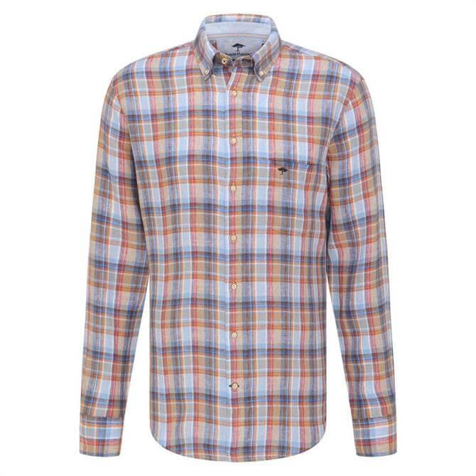 Fynch-Hatton Casual Fit Check Linen Shirt