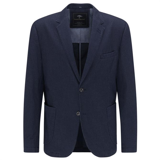 Fynch-Hatton Navy Cotton Structure Blazer
