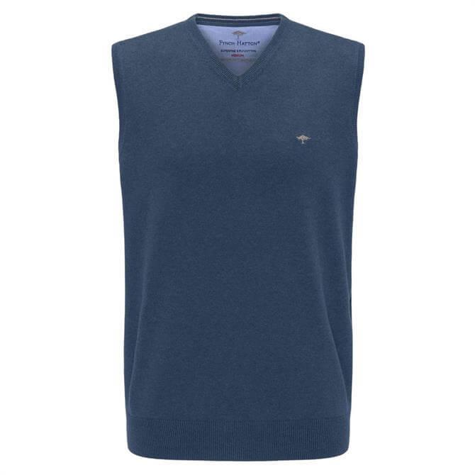 Fynch Hatton Superfine Cotton V-Neck Vest Jumper