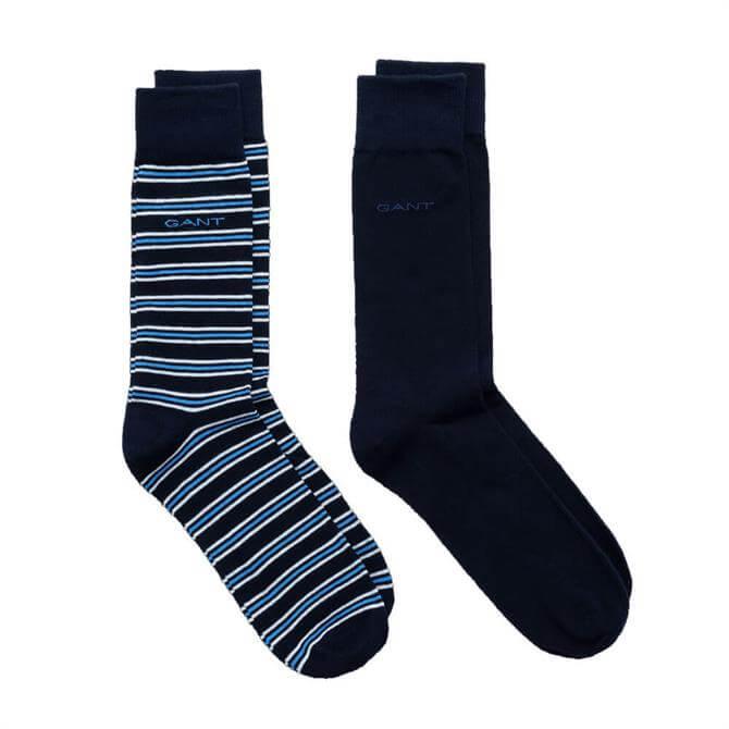 GANT 2 Pack Solid & Stripe Socks