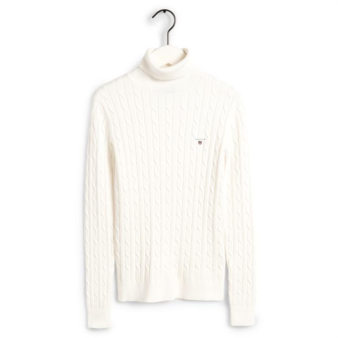 GANT Stretch Cotton Cable Turtleneck Sweater