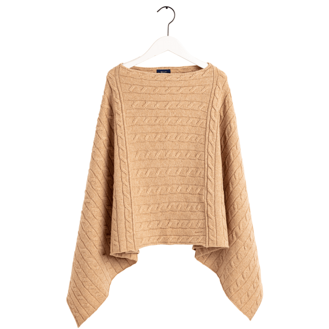 GANT Lambswool Cable Knit Poncho