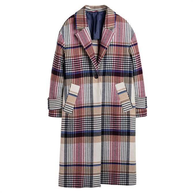 GANT Checked Wool Blend Overcoat