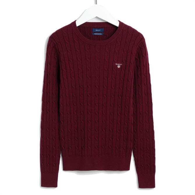 GANT Stretch Cotton Cable Crew Port Red Sweater