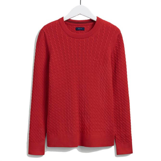 GANT Cable Knit Round Neck Sweater