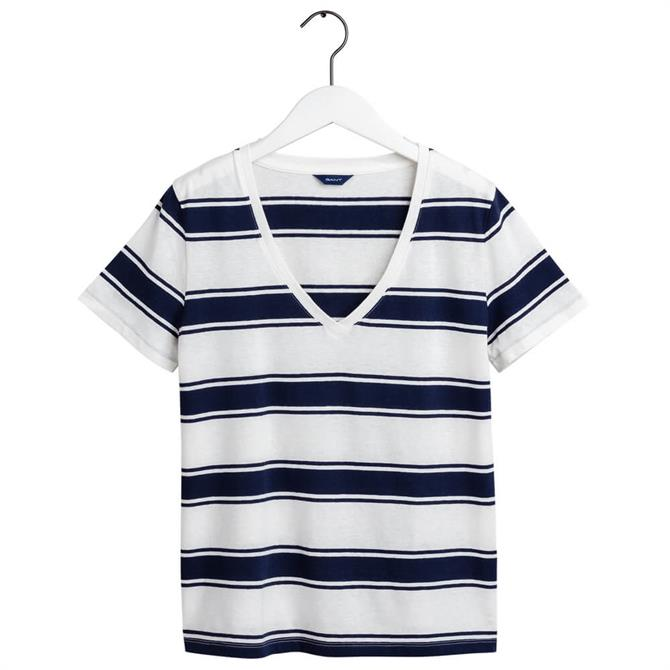 GANT Cotton Linen Striped T-Shirt