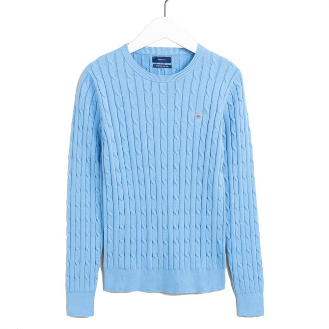 GANT Stretch Cotton Cable Crew Neck Jumper SS21