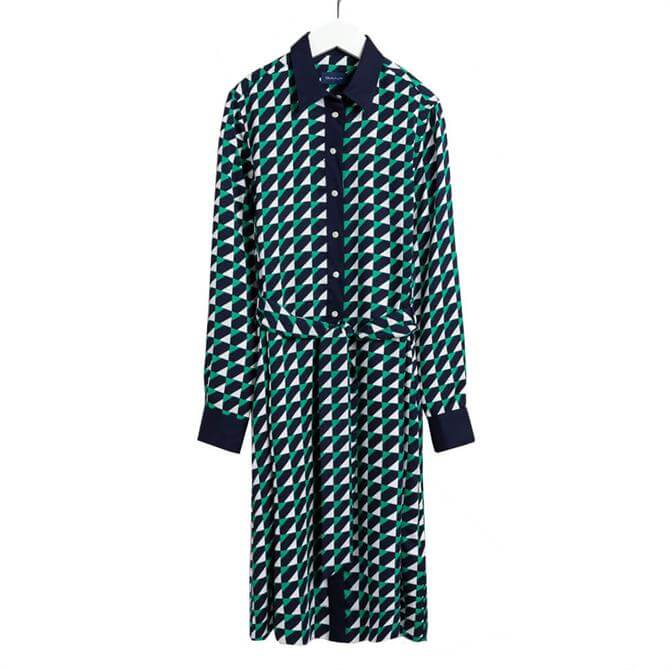 GANT Geometric Print A-Line Shirt Dress