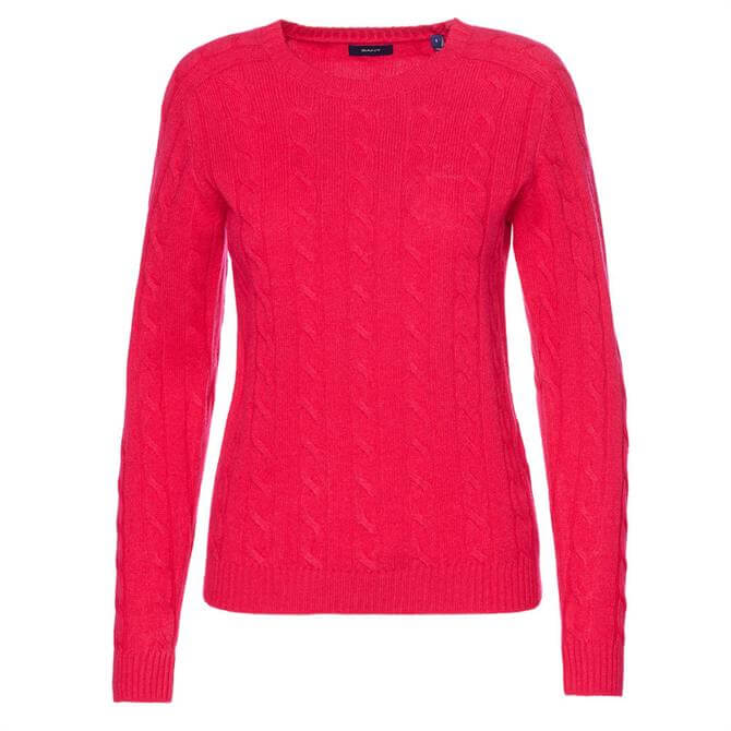 GANT Lambswool Cable Crew Neck Jumper