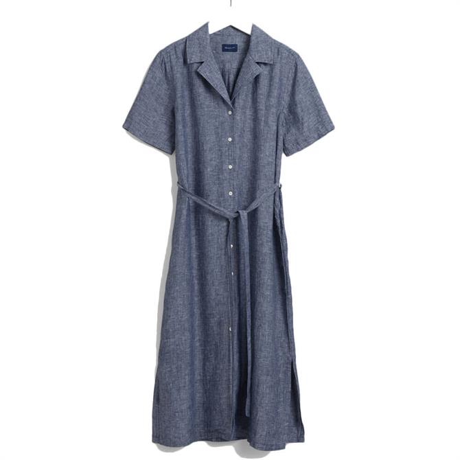 GANT Linen Chambray Midi Shirt Dress