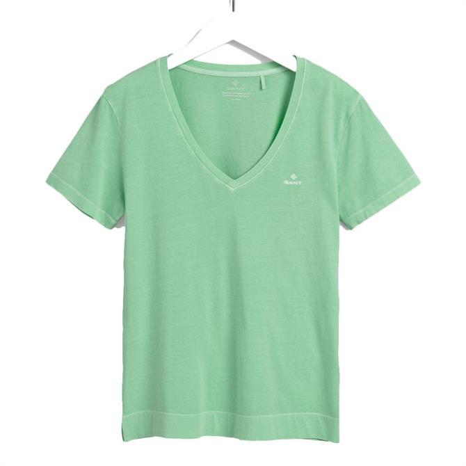 GANT Sunfaded V-Neck Pastel Green T-Shirt