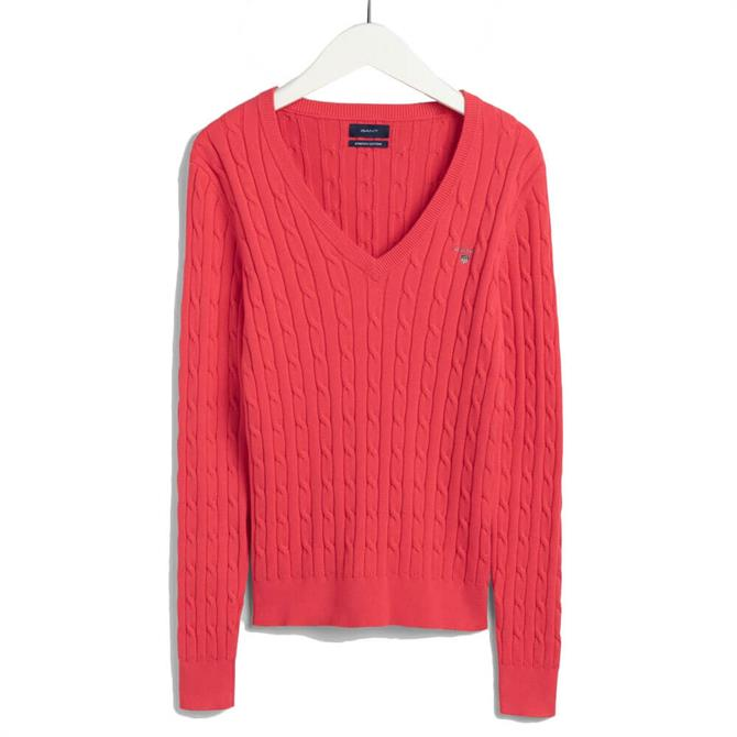 GANT Stretch Cotton Cable V-Neck Watermelon Red Jumper