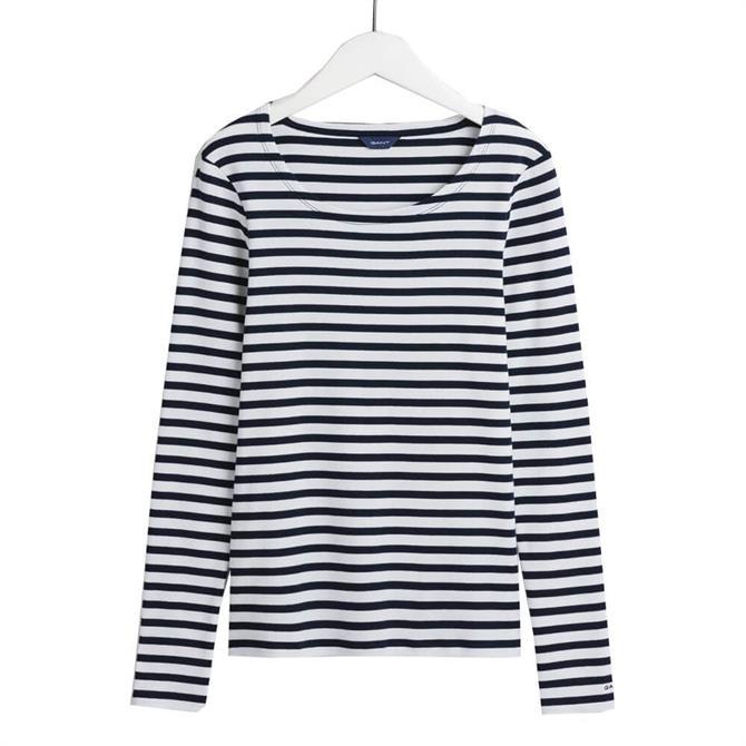 GANT Striped Long Sleeve Ribbed T-Shirt