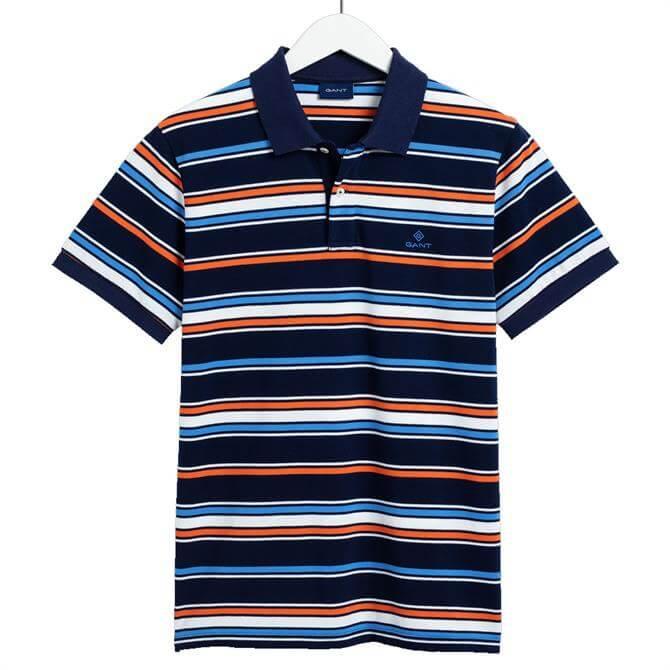 GANT Multi Stripe Short Sleeve Rugger Polo Shirt