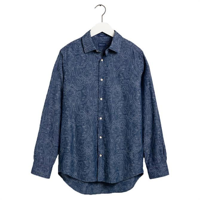 GANT Regular Fit Indigo Paisley Jacquard Shirt