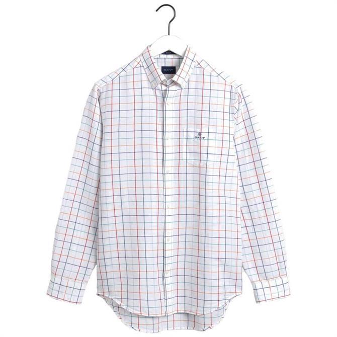 GANT Regular Fit Check Cotton Linen Shirt