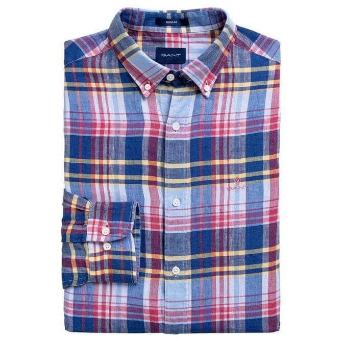 GANT Regular Fit Linen Madras Shirt