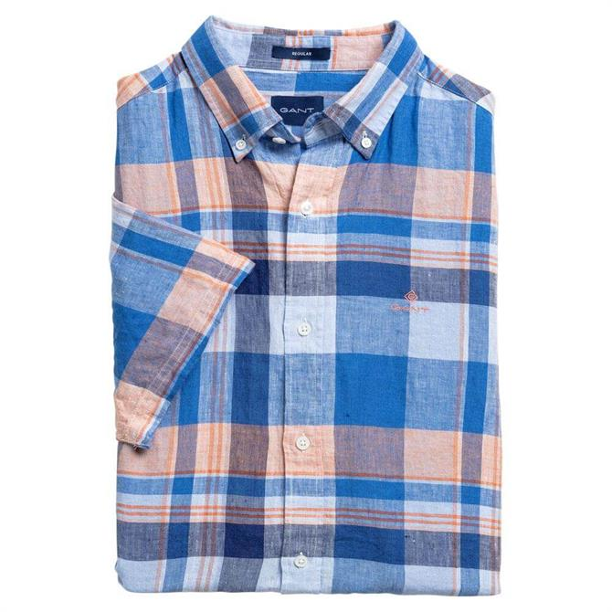 GANT Regular Fit Short Sleeve Linen Madras Shirt