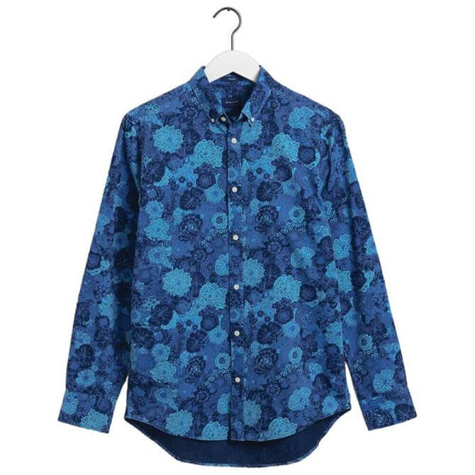 GANT Regular Fit Flower Print Indigo Shirt
