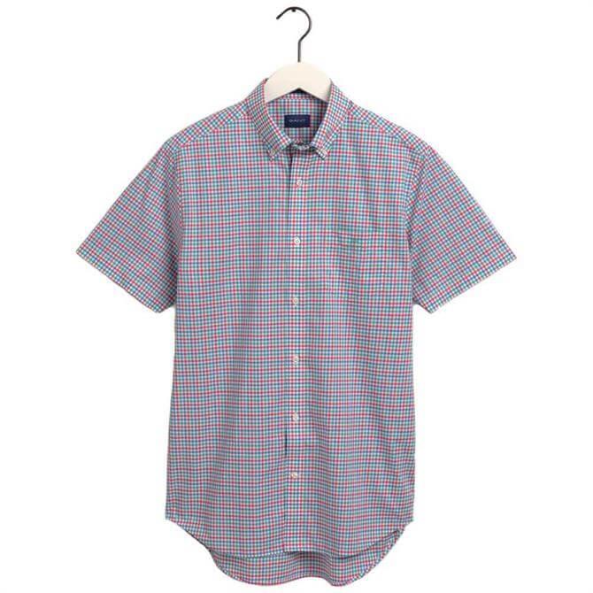 GANT Regular Fit Short Sleeve 3 Colour Gingham Broadcoth Shirt