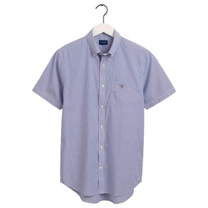 GANT Regular Fit Broadcloth Banker Stripe Short Sleeve Shirt