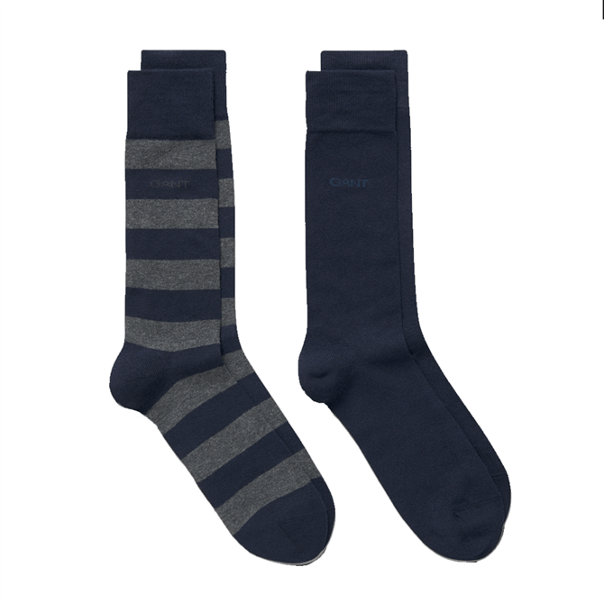 GANT Stripe and Solid 2 Pack Socks
