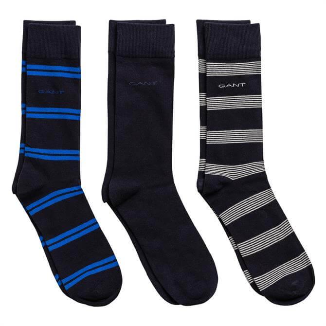 GANT 3-Pack Mixed Stripe & Solid Socks