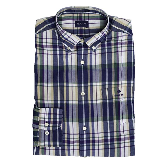 GANT Regular Fit Tech Prep Madras Indigo Shirt