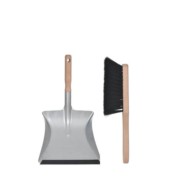 Garden Trading Galvanised Steel Dustpan and Brush