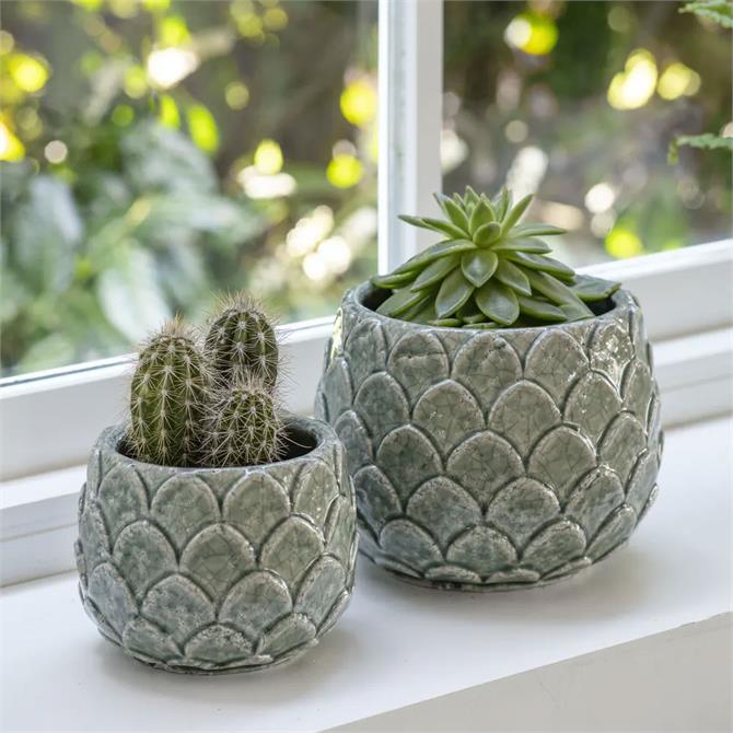 Artichoke Pot Aqua Ceramic