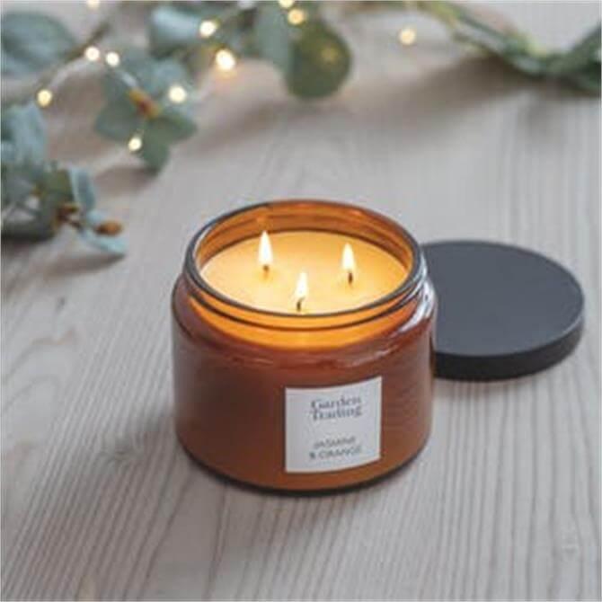 Garden Trading Amber Glass  Candle Jasmine & Orange Large